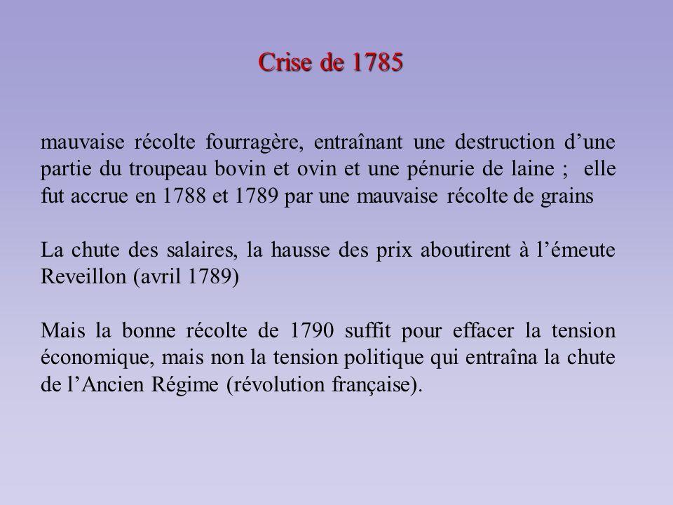 Crise de 1785 mauvaise récolte fourragère, entraînant une destruction dune partie du troupeau bovin et ovin et une pénurie de laine ; elle fut accrue
