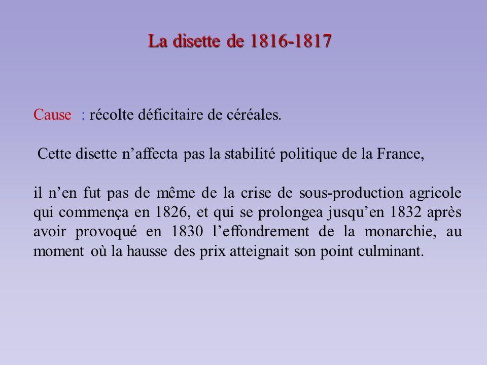 La disette de 1816-1817 Cause : récolte déficitaire de céréales. Cette disette naffecta pas la stabilité politique de la France, il nen fut pas de mêm