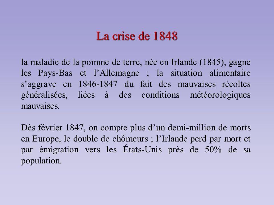 La crise de 1848 la maladie de la pomme de terre, née en Irlande (1845), gagne les Pays-Bas et lAllemagne ; la situation alimentaire saggrave en 1846-