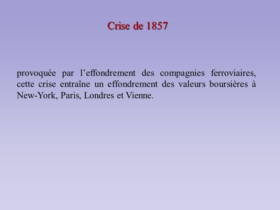 Crise de 1857 provoquée par leffondrement des compagnies ferroviaires, cette crise entraîne un effondrement des valeurs boursières à New-York, Paris,