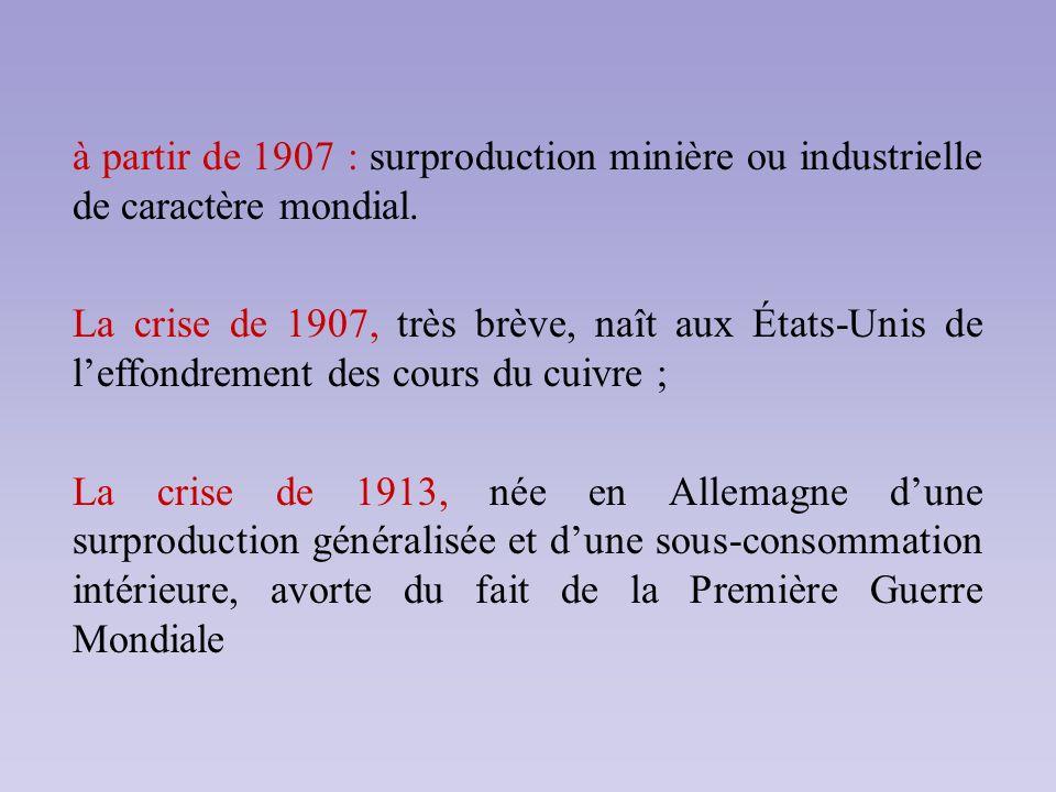 à partir de 1907 : surproduction minière ou industrielle de caractère mondial. La crise de 1907, très brève, naît aux États-Unis de leffondrement des