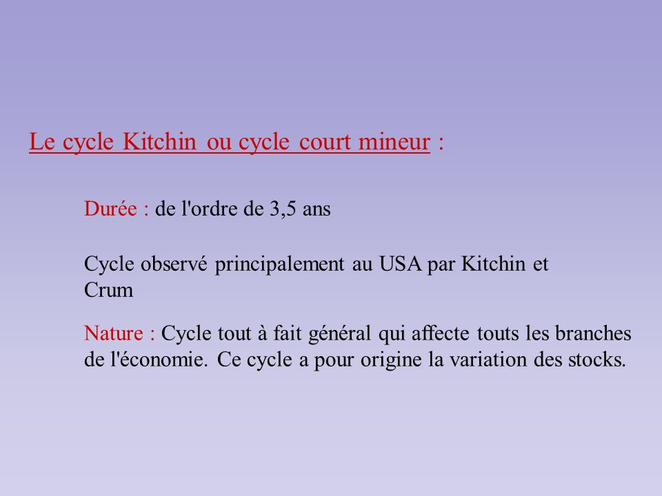 Le cycle Kitchin ou cycle court mineur : Durée : de l'ordre de 3,5 ans Cycle observé principalement au USA par Kitchin et Crum Nature : Cycle tout à f