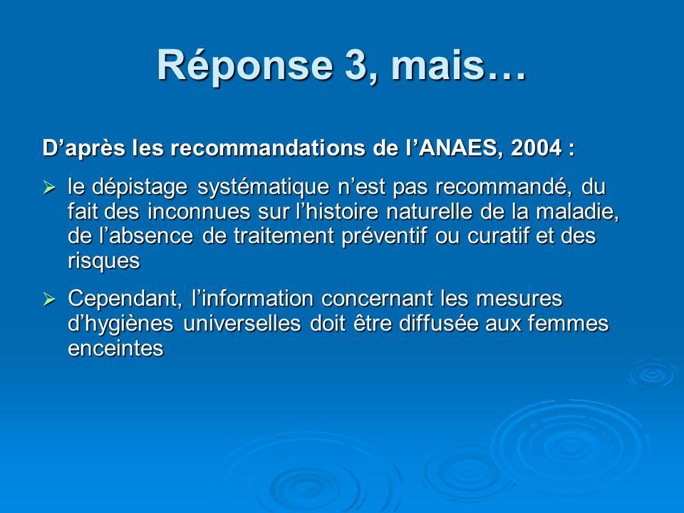 Réponse 3, mais… Daprès les recommandations de lANAES, 2004 : le dépistage systématique nest pas recommandé, du fait des inconnues sur lhistoire natur