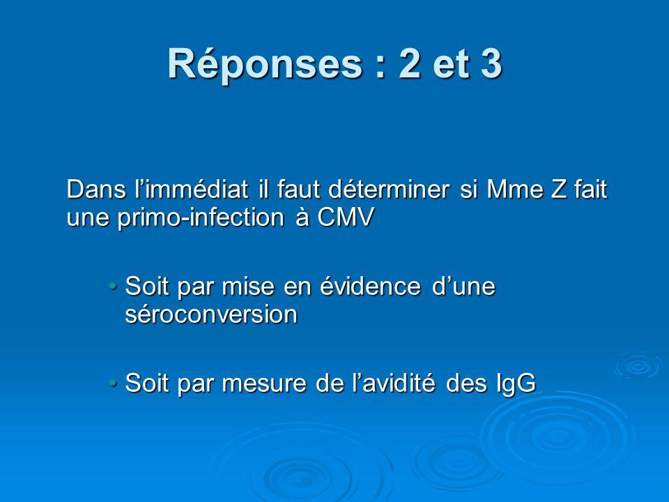 Réponses : 2 et 3 Dans limmédiat il faut déterminer si Mme Z fait une primo-infection à CMV Dans limmédiat il faut déterminer si Mme Z fait une primo-