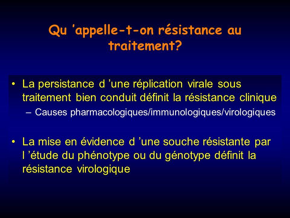 Qu appelle-t-on résistance au traitement.