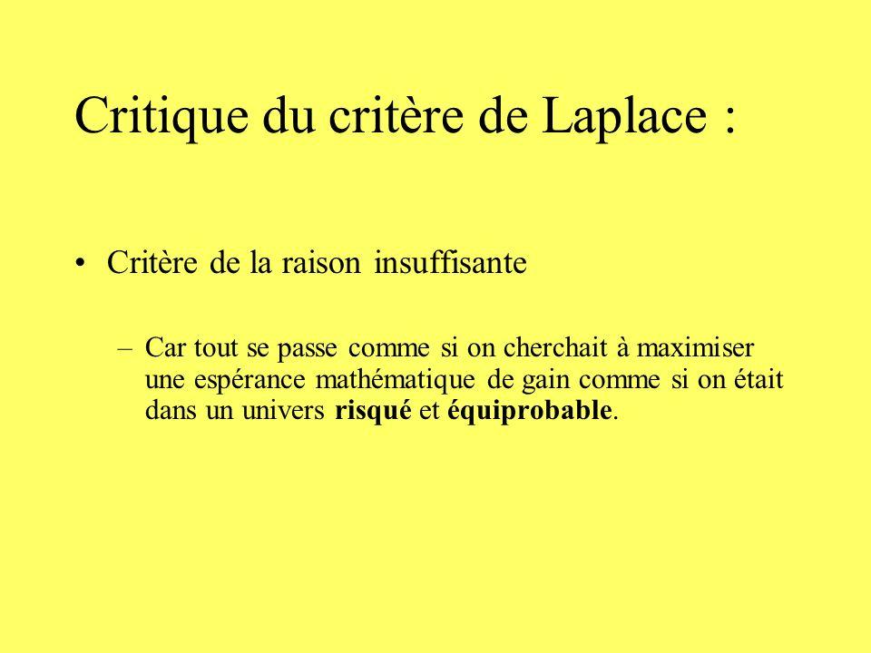 Critique du critère de Laplace : Critère de la raison insuffisante –Car tout se passe comme si on cherchait à maximiser une espérance mathématique de gain comme si on était dans un univers risqué et équiprobable.