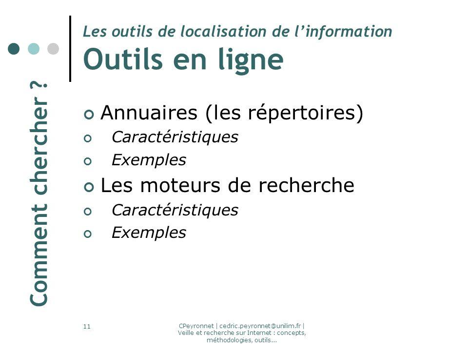 CPeyronnet | cedric.peyronnet@unilim.fr | Veille et recherche sur Internet : concepts, méthodologies, outils... 11 Les outils de localisation de linfo