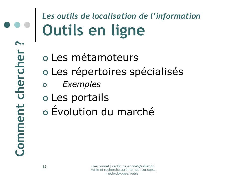 CPeyronnet | cedric.peyronnet@unilim.fr | Veille et recherche sur Internet : concepts, méthodologies, outils... 12 Les outils de localisation de linfo