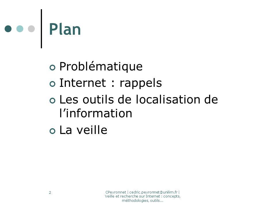 CPeyronnet | cedric.peyronnet@unilim.fr | Veille et recherche sur Internet : concepts, méthodologies, outils... 2 Plan Problématique Internet : rappel