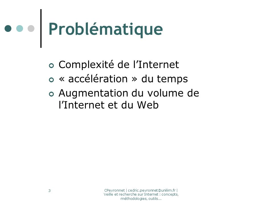 CPeyronnet | cedric.peyronnet@unilim.fr | Veille et recherche sur Internet : concepts, méthodologies, outils... 3 Problématique Complexité de lInterne