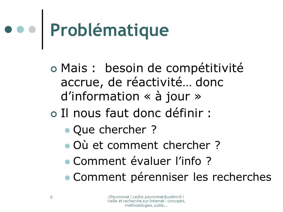 CPeyronnet | cedric.peyronnet@unilim.fr | Veille et recherche sur Internet : concepts, méthodologies, outils... 5 Problématique Mais : besoin de compé