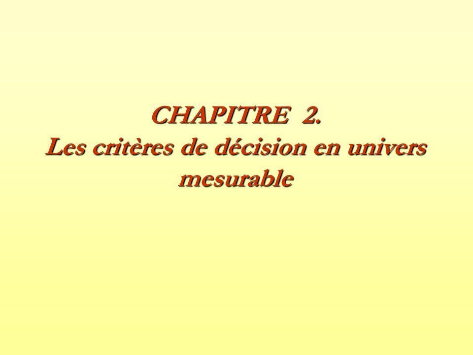 1- Le critère de Pascal Fonction de valorisation : –Évaluer lespérance mathématique des résultats de chaque action.