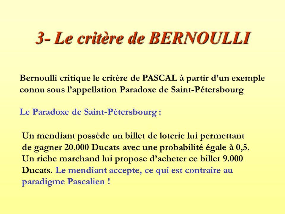 3- Le critère de BERNOULLI Bernoulli critique le critère de PASCAL à partir dun exemple connu sous lappellation Paradoxe de Saint-Pétersbourg Le Parad