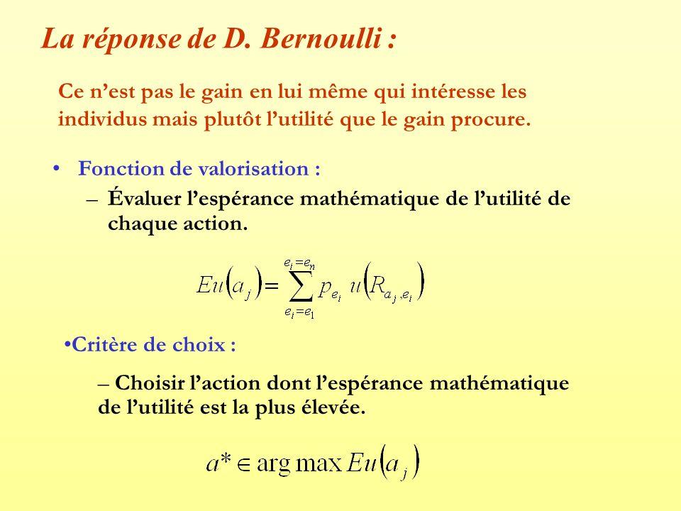 Dans le cas du paradoxe de saint petersbourg : Le mendiant accepte de vendre son billet de loterie dès lors que : Soit : Si la fonction dutilité du mendiant est de type u(x)=Ln(x), il est rationnel daccepter léchange : Ln(20000)=9,9 et 2*Ln(9000)=18,20