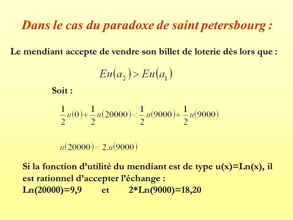 Dans le cas du paradoxe de saint petersbourg : Le mendiant accepte de vendre son billet de loterie dès lors que : Soit : Si la fonction dutilité du me