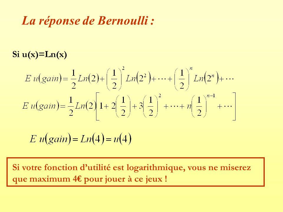 La réponse de Bernoulli : Si u(x)=Ln(x) Si votre fonction dutilité est logarithmique, vous ne miserez que maximum 4 pour jouer à ce jeux !