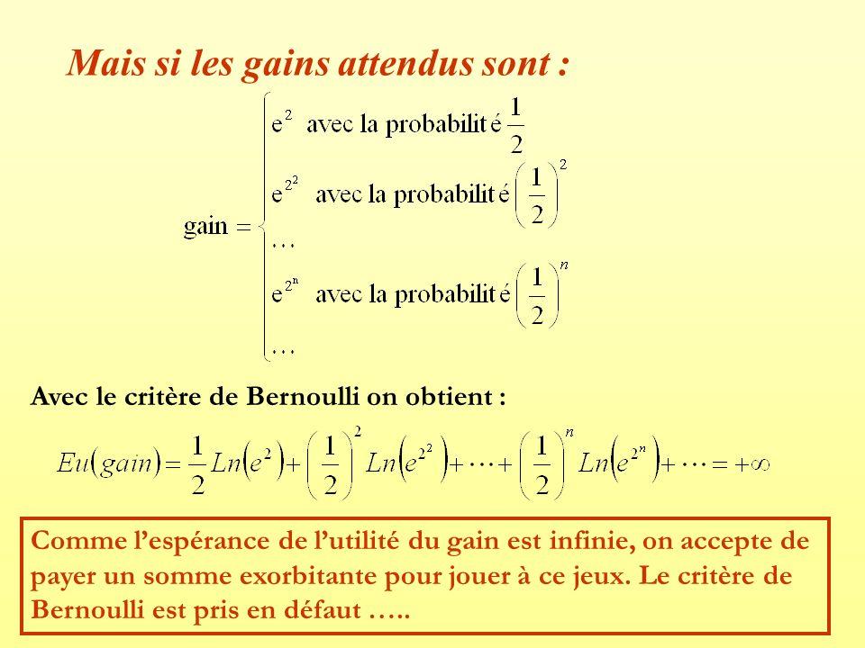 Mais si les gains attendus sont : Avec le critère de Bernoulli on obtient : Comme lespérance de lutilité du gain est infinie, on accepte de payer un s