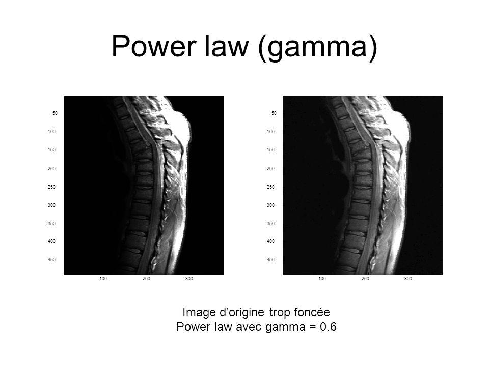 Power law (gamma) Image dorigine trop foncée Power law avec gamma = 0.6 100200300 50 100 150 200 250 300 350 400 450 100200300 50 100 150 200 250 300