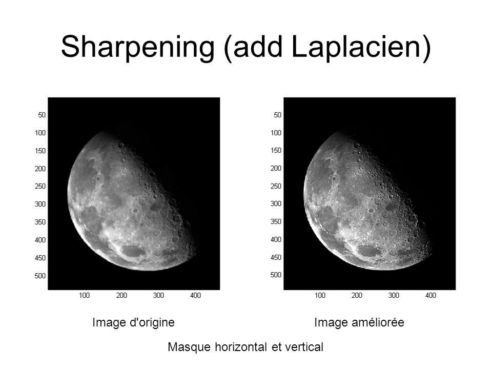 Sharpening (add Laplacien) Image d origineImage améliorée Masque horizontal et vertical
