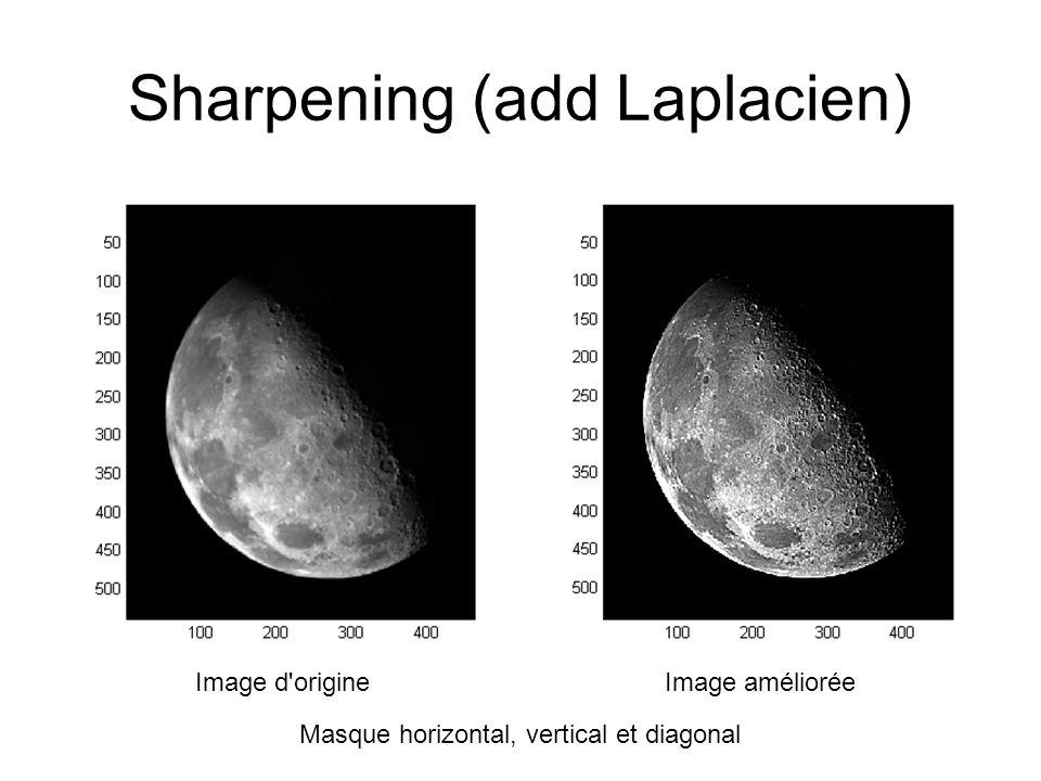 Sharpening (add Laplacien) Image d origineImage améliorée Masque horizontal, vertical et diagonal
