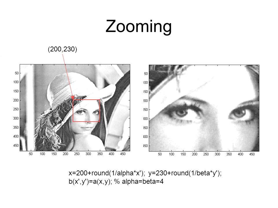 Zooming (200,230) x=200+round(1/alpha*x'); y=230+round(1/beta*y'); b(x',y')=a(x,y); % alpha=beta=4