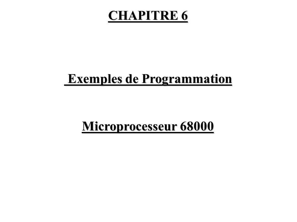 CHAPITRE 6 Exemples de Programmation Exemples de Programmation Microprocesseur 68000