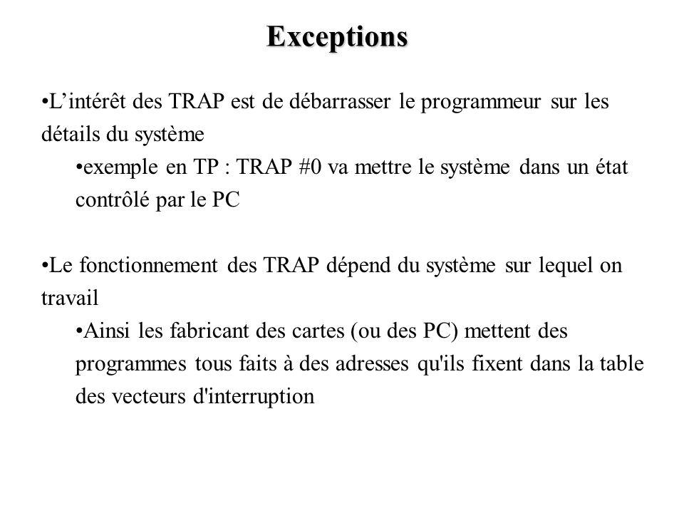 Exceptions Lintérêt des TRAP est de débarrasser le programmeur sur les détails du système exemple en TP : TRAP #0 va mettre le système dans un état co
