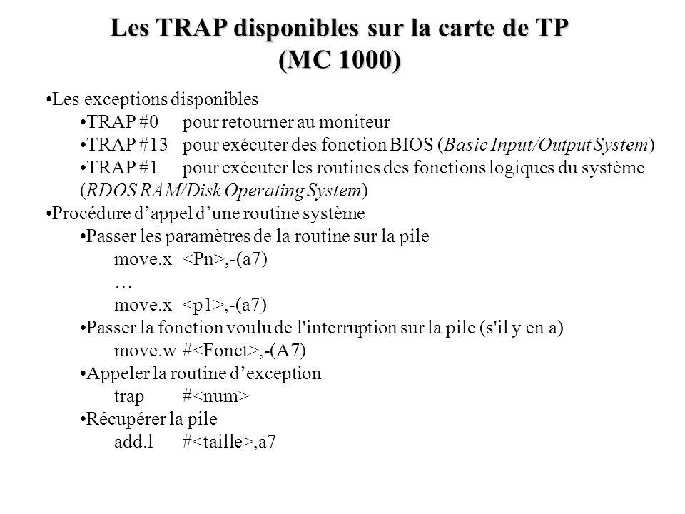 Les TRAP disponibles sur la carte de TP (MC 1000) Les exceptions disponibles TRAP #0 pour retourner au moniteur TRAP #13 pour exécuter des fonction BI