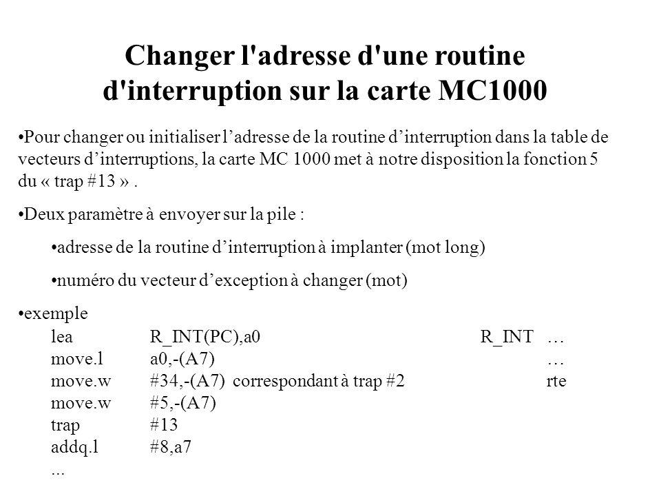 Changer l'adresse d'une routine d'interruption sur la carte MC1000 Pour changer ou initialiser ladresse de la routine dinterruption dans la table de v