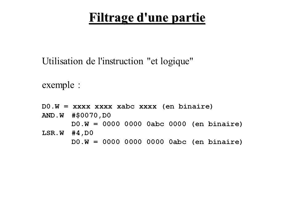 Extension de signe d une partie D0 contient une donnée signée sur 12 bits D0 = xxxx abcd efgh ijkl LSL.W#4,D0 D0 = abcd efgh ijkl xxxx ASR#4,D0 D0 = aaaa abcd efgh ijkl