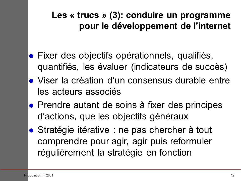 12Proposition.fr, 2001 Fixer des objectifs opérationnels, qualifiés, quantifiés, les évaluer (indicateurs de succès) Viser la création dun consensus d