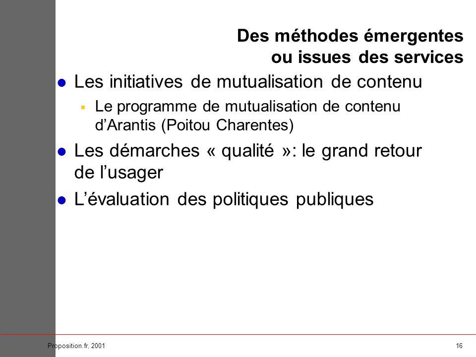 16Proposition.fr, 2001 Des méthodes émergentes ou issues des services Les initiatives de mutualisation de contenu Le programme de mutualisation de con