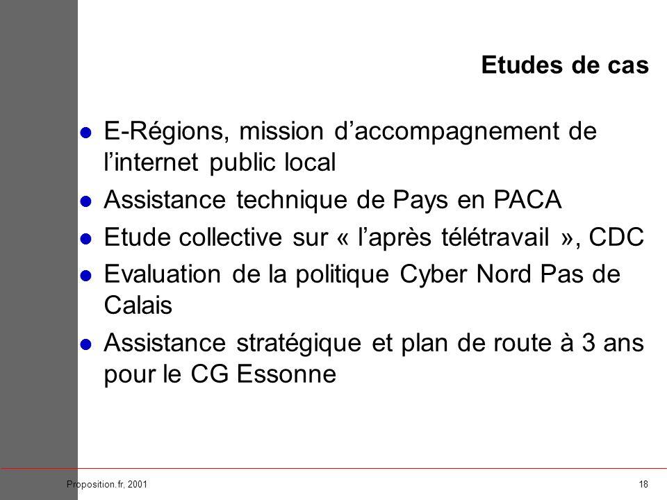 18Proposition.fr, 2001 Etudes de cas E-Régions, mission daccompagnement de linternet public local Assistance technique de Pays en PACA Etude collectiv