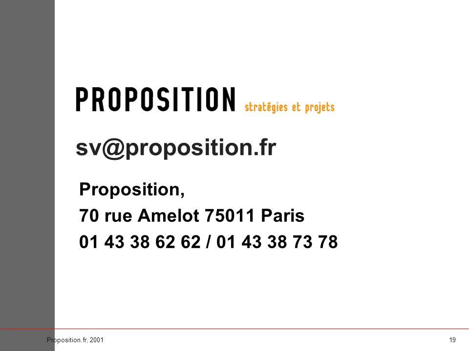19Proposition.fr, 2001 sv@proposition.fr Proposition, 70 rue Amelot 75011 Paris 01 43 38 62 62 / 01 43 38 73 78