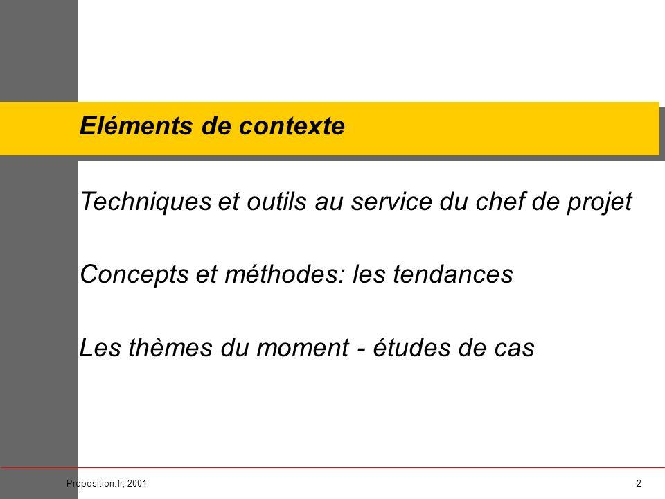 2Proposition.fr, 2001 Eléments de contexte Techniques et outils au service du chef de projet Concepts et méthodes: les tendances Les thèmes du moment
