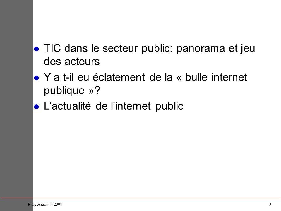 3Proposition.fr, 2001 TIC dans le secteur public: panorama et jeu des acteurs Y a t-il eu éclatement de la « bulle internet publique »? Lactualité de