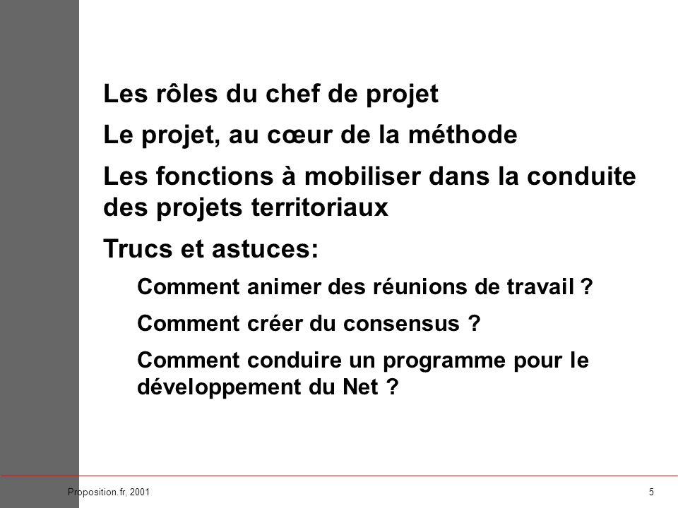 6Proposition.fr, 2001 Le projet : un document de référence Au sommaire : > objectif(s), > cible(s), > méthodologie, > organisation, > budget, > calendrier...