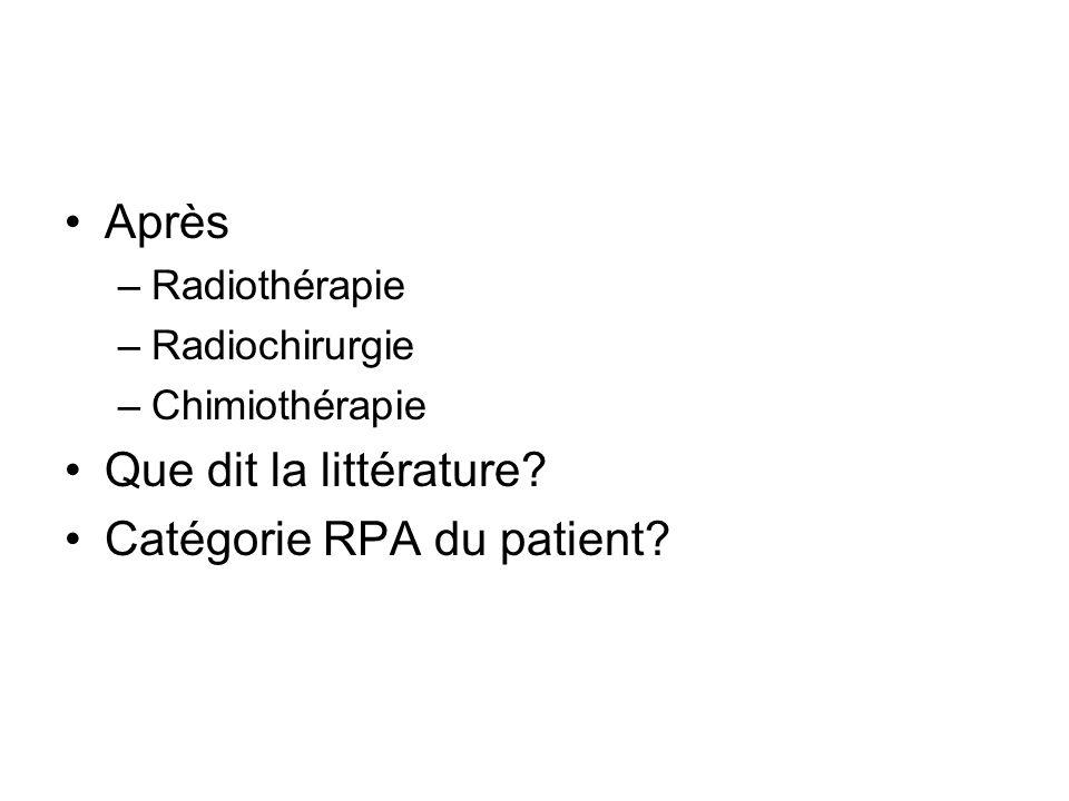Après –Radiothérapie –Radiochirurgie –Chimiothérapie Que dit la littérature? Catégorie RPA du patient?
