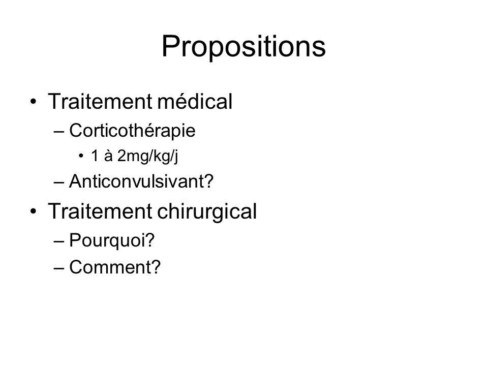 Propositions Traitement médical –Corticothérapie 1 à 2mg/kg/j –Anticonvulsivant? Traitement chirurgical –Pourquoi? –Comment?