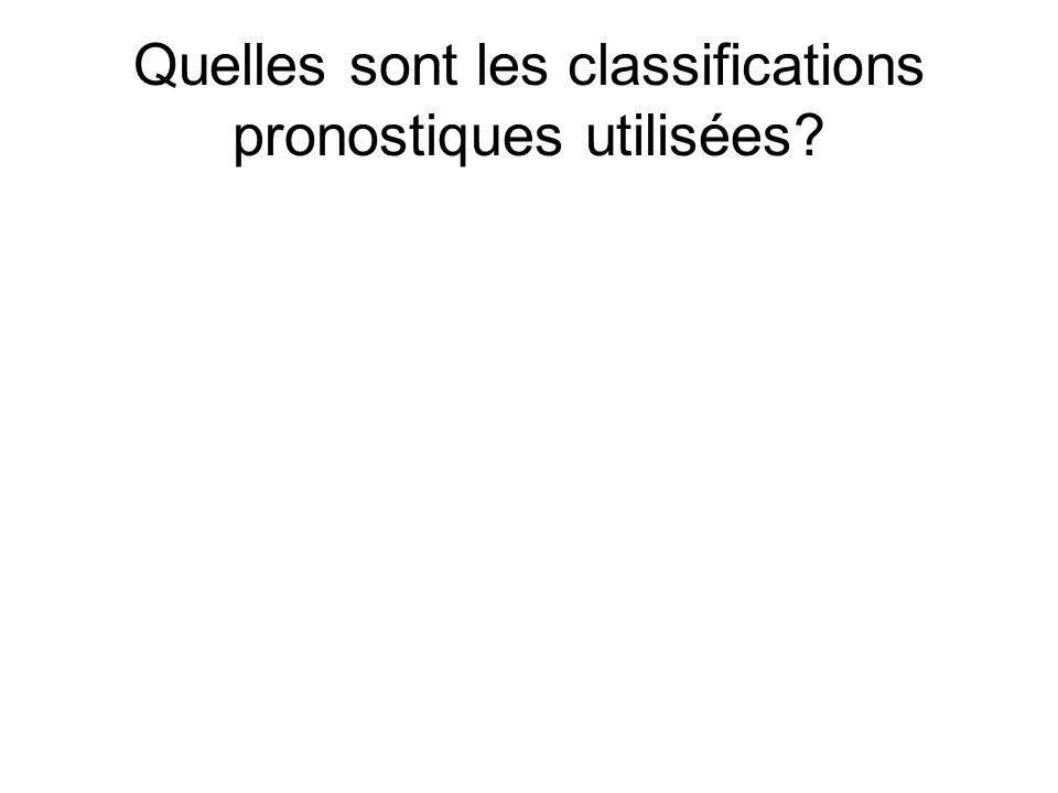 Quelles sont les classifications pronostiques utilisées?