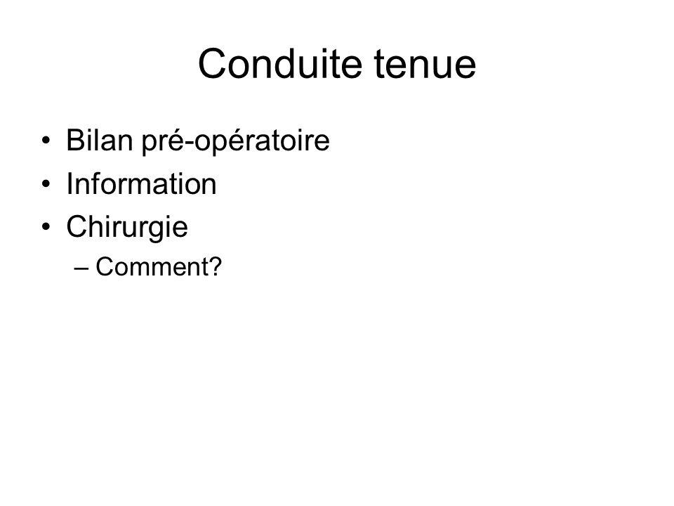Conduite tenue Bilan pré-opératoire Information Chirurgie –Comment?