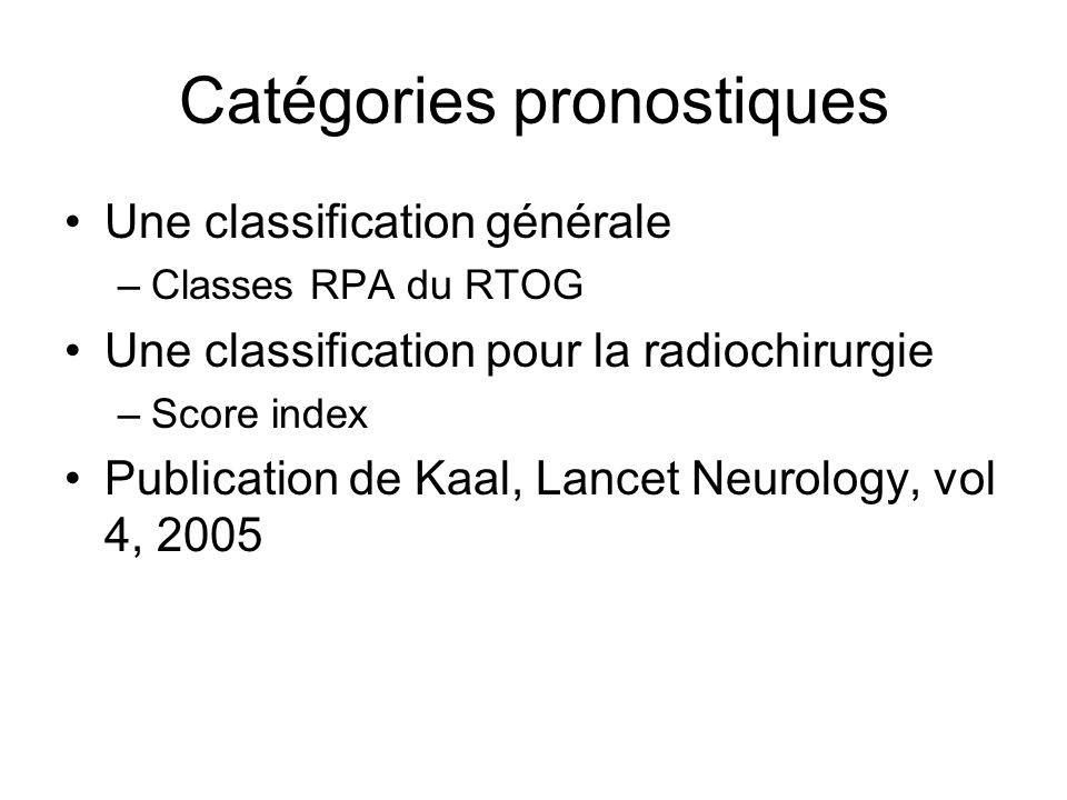 Catégories pronostiques Une classification générale –Classes RPA du RTOG Une classification pour la radiochirurgie –Score index Publication de Kaal, L