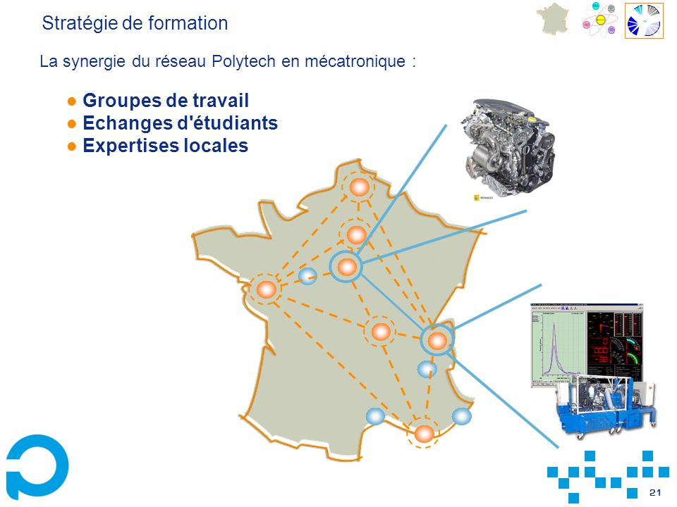 21 Groupes de travail Echanges d'étudiants Expertises locales Stratégie de formation La synergie du réseau Polytech en mécatronique :