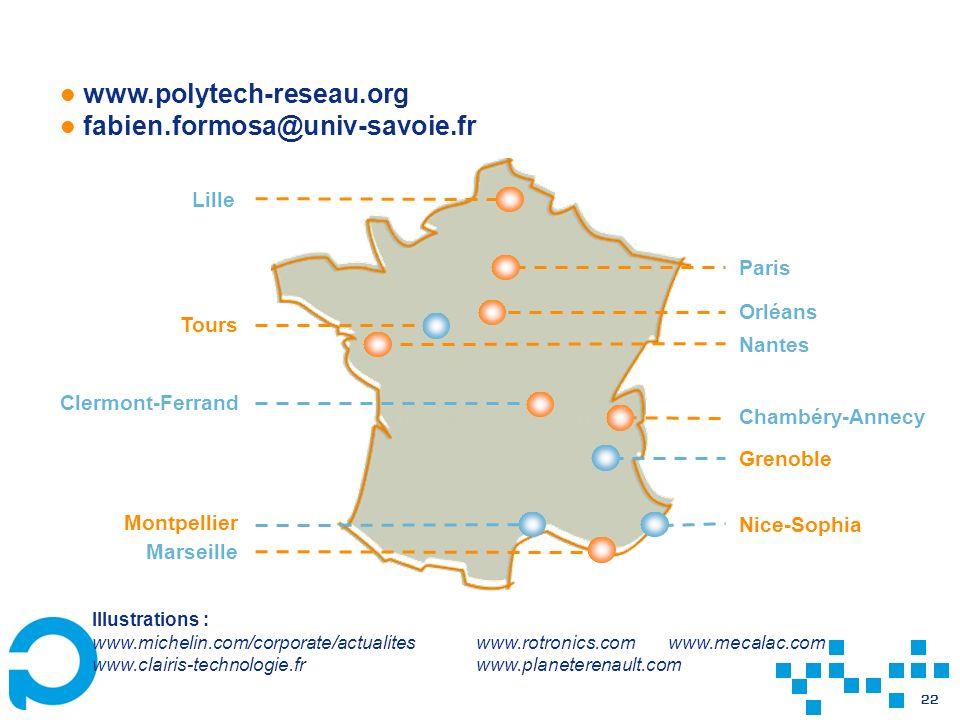 22 www.polytech-reseau.org fabien.formosa@univ-savoie.fr Lille Paris Chambéry-Annecy Grenoble Nice-Sophia Marseille Clermont-Ferrand Orléans Tours Nan