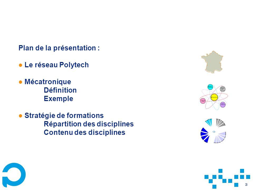 3 Plan de la présentation : Le réseau Polytech Mécatronique Définition Exemple Stratégie de formations Répartition des disciplines Contenu des discipl