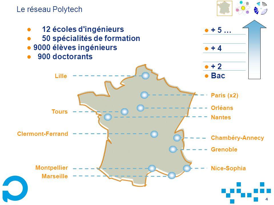 4 Le réseau Polytech 12 écoles d'ingénieurs 50 spécialités de formation 9000 élèves ingénieurs 900 doctorants Lille Paris (x2) Chambéry-Annecy Grenobl