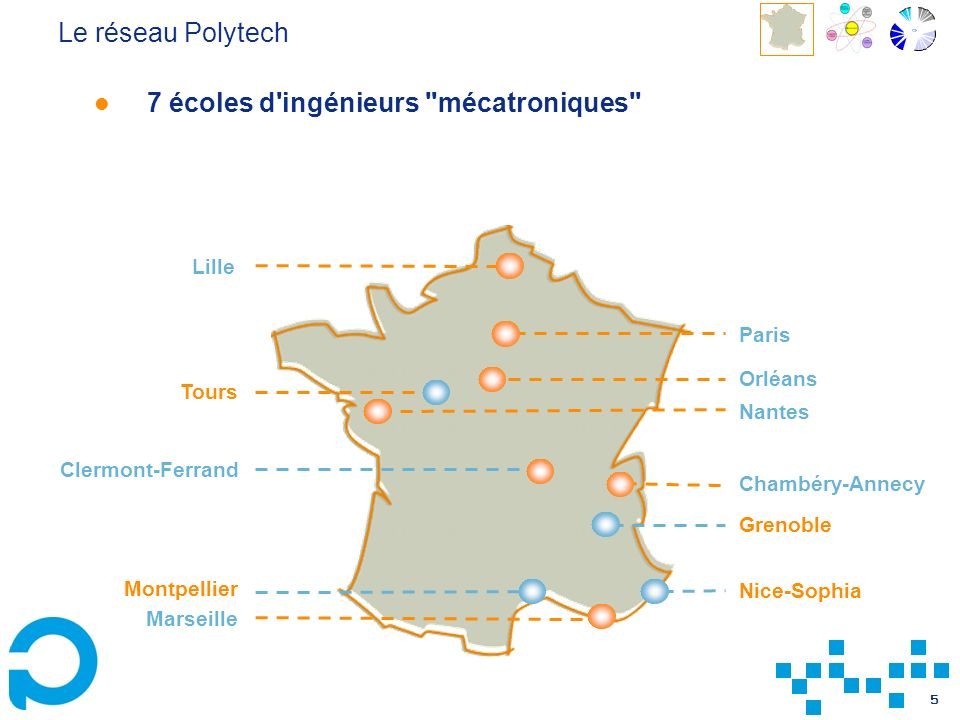 5 Le réseau Polytech 7 écoles d ingénieurs mécatroniques Lille Paris Chambéry-Annecy Grenoble Nice-Sophia Marseille Clermont-Ferrand Orléans Tours Nantes Montpellier