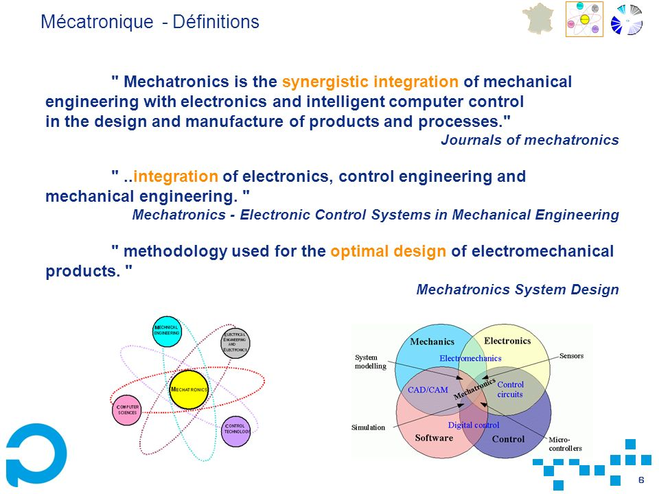 6 Mechatronics is the synergistic integration of mechanical engineering with electronics and intelligent computer control in the design and manufacture of products and processes. Journals of mechatronics ..integration of electronics, control engineering and mechanical engineering.