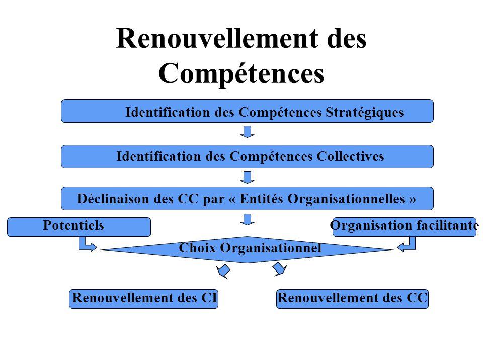 Renouvellement des Compétences Identification des Compétences Stratégiques Identification des Compétences Collectives Déclinaison des CC par « Entités