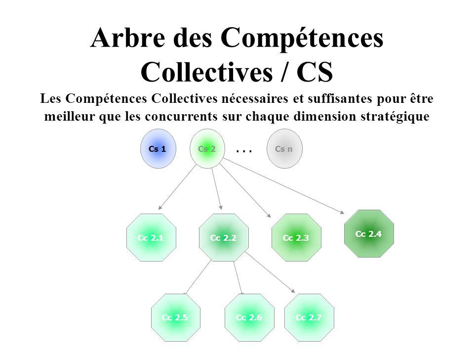 Arbre des Compétences Collectives / CS Cs 1Cs nCs 2 Cc 2.1Cc 2.3 Cc 2.4... Cc 2.2 Cc 2.5Cc 2.6Cc 2.7 Les Compétences Collectives nécessaires et suffis